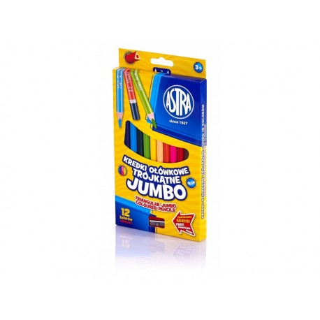ASTRA Trojhranné farbičky JUMBO 12ks + strúhatko, 312110007 ASTRA AST2077