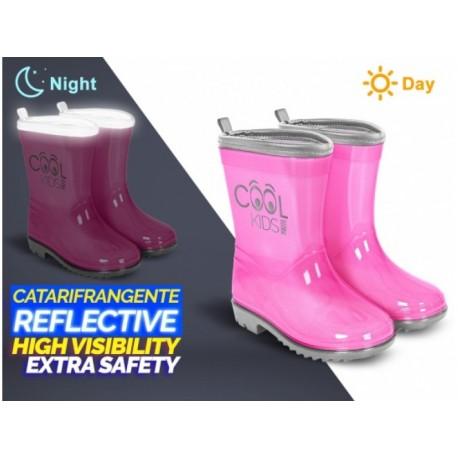 PERLETTI® Detské reflexné gumáky COOL KIDS Pink, 15540,    PERLETTI® PER0950|22/23